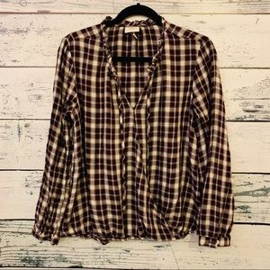 LASIES PLAID PURPLE AND WHITE BLOUSE WITH TIE SZ L